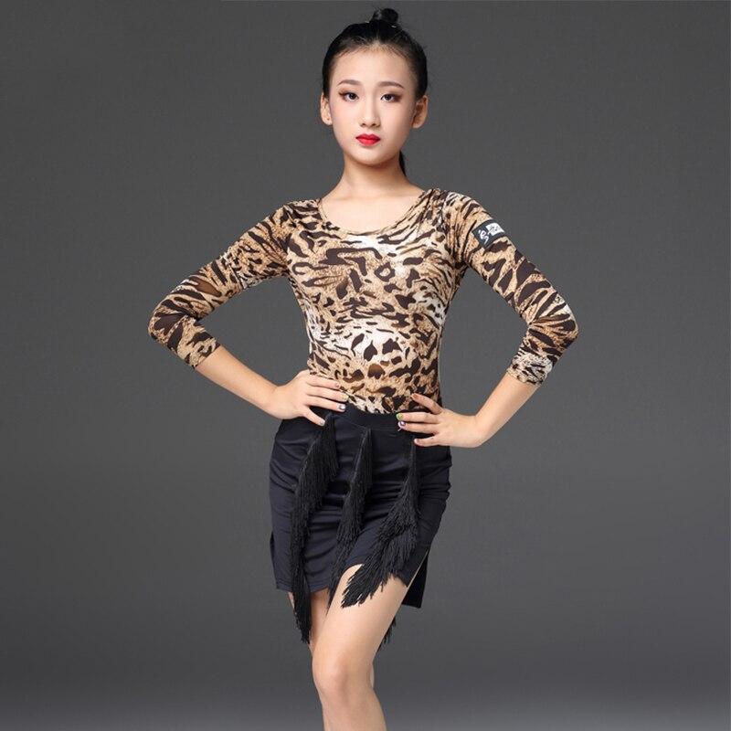 Latin Dance Dress For Girls Leopard Leotard Black Fringed Skirt Kids Cha Salsa Dance Costume Performance