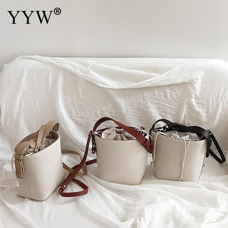 Canvas Drawstring Pouch Bucket Crossbody Woman Shoulder Bags Simple Messenger Mini Small Bags