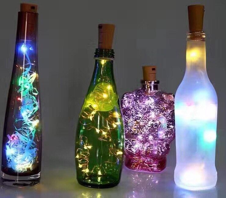 2PCS Lot 2M 20 font b LEDs b font Bottle Cork Stopper Shaped font b LED