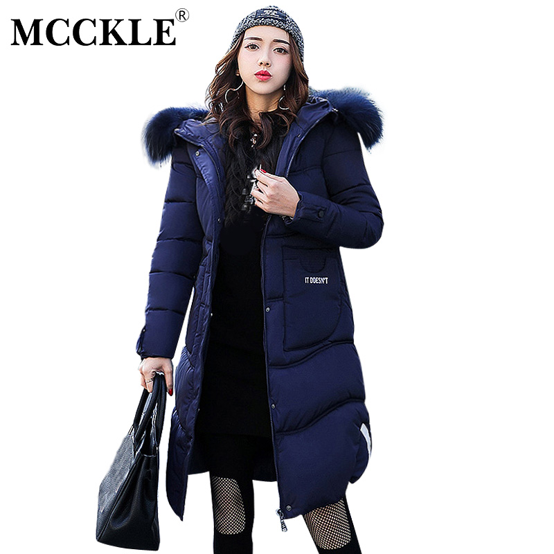 MCCKLE Winter Jacket Women Thick Warm Parka With Big Fur Collar Hooded Cotton Padded Long Puffer Coat Plus Size Chaqueta Mujer mcckle winter jacket with fur collar hooded cotton padded long puffer coat outwear women fashion thickening warm parka overcoat