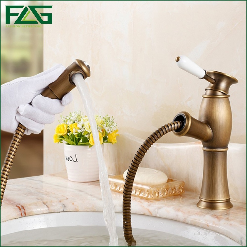ФОТО FLG Top Basin Faucet Pull Out Antique Bronze Faucets Cold with Diamond And Porcelain Pull Down Vanity Sink Water Mixer Tap M185