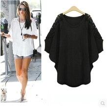 5xl plus big size blusas feminina spring summer 2016 korean women lace bat sleeve loose white black t-shirts female A1842