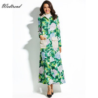 Wedtrend Long Sleeve Dress Winter Dresses Women 2017 Clothes For Girls Maxi Gown With Pockets Leaves