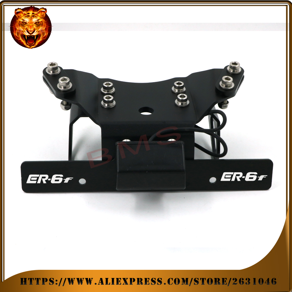 Motorcycle Fender Registration License Plate mount TailLight LED Holder Bracket For KAWASAKI ER6F ER-6F  with logo free shipping cnc aluminum motorcycle rear license plate mount holder with led light for kawasaki ninja zx6 zx6r zx7r zx9r zx12r zx14r zx500r