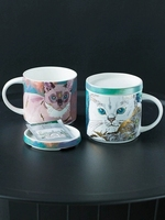 2019 new style Cat Meow Large Capacity Mug with Cover Ceramic Cup Children Coffee Cup Couple Cups Water Cups Gift Box