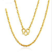 Pure 24K Yellow Gold Chain Necklace 999 Gold Fashion Designer Necklace