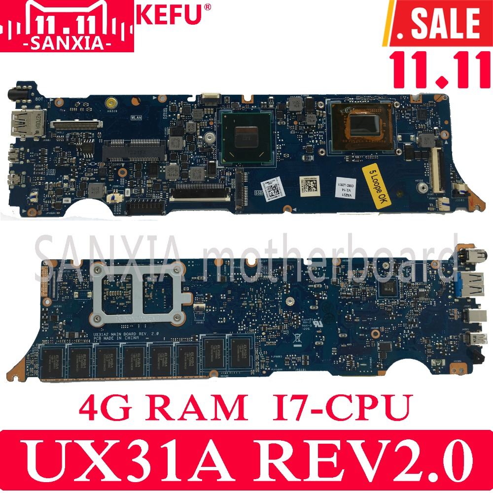 KEFU UX31A2 Laptop motherboard for ASUS UX31A UX31 Test original mainboard 4G RAM I7-3537U REV2.0 ux31a motherboard i7 cpu 4g ram rev4 1 for asus ux31a ux31a2 laptop motherboard ux31a mainboard ux31a motherboard test 100% ok