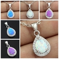 New Arrival Best Design Drop Blue Pink White Fire Opal Stone Women Pendant + Free Shipping Free Gift Box
