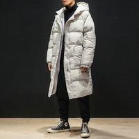 High Quality Winter Jacket Men Hooded Thicken Warm Parka Coat Casual Slim Mens Overcoat Long Slim Cotton padded jacket M 5XL