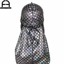 Unisex Men Reflective Fish Scale Silky Durag Long Tail Straps Waves Bandana Hat Turban Do Du Rags Shiny Durags