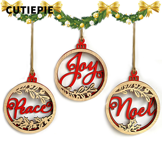 3pcslot classical peace noel joy wooden laser hollow hanging ornaments for christmas tree diy - Peace Outdoor Christmas Decorations
