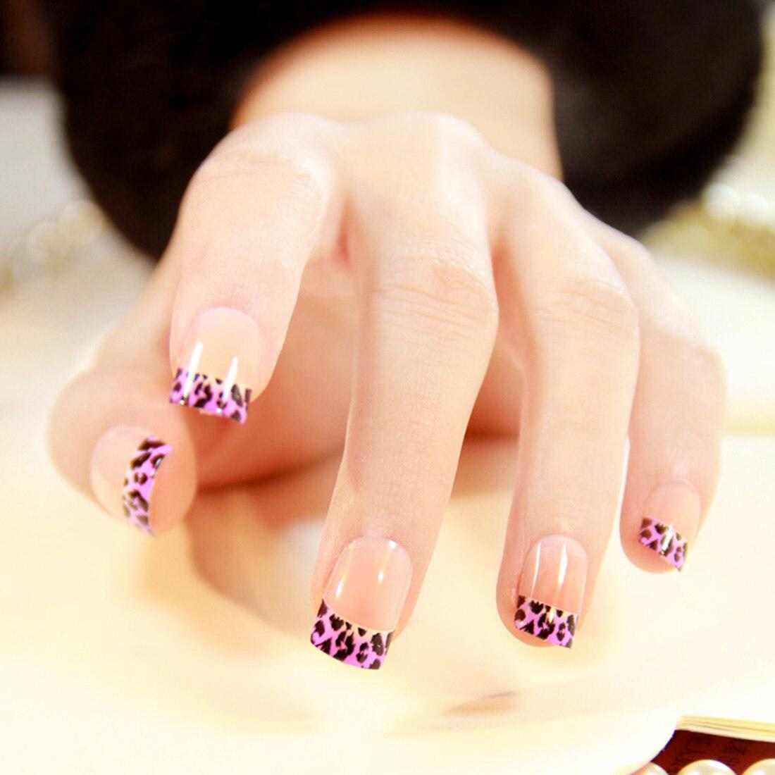 2017 New Purple Leopard French False Nails Short Square Natural Nail ...