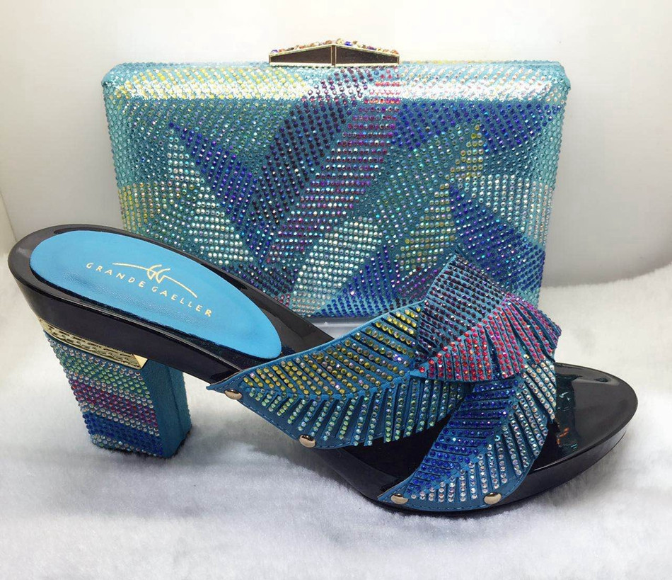 ФОТО 2017 Italian Women Shoes With Matching Bag Set With Stones For Lady's Party And Wedding African Women Shoe And Bag Set TT08