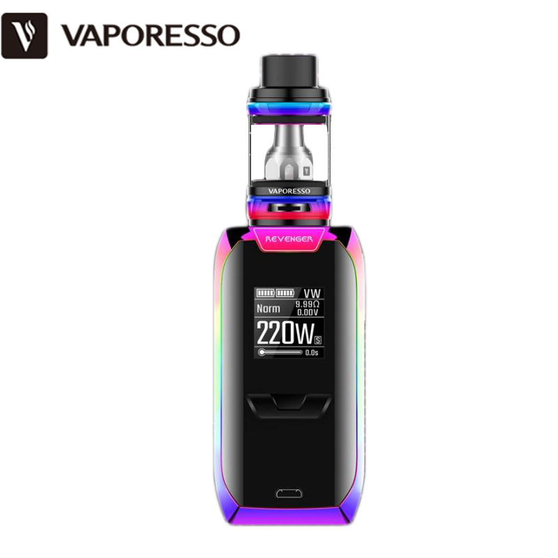 Vaporesso REVENGER Kit 220W Rainbow Color REVENGER Box MOD awith 2ML NRG Mini 5ML NRG Tank Atomizer Electronic Cigarette original joyetech cuboid starter kit 150w cuboid temp control mod firmware upgradable cubis atomizer 3 5ml tank capacity