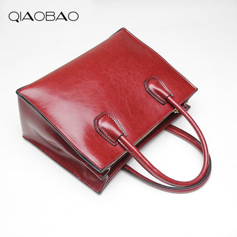 QIAOBAO Women Vintage 100% Genuine Leather Handbag Luxury Brand Women Bag Casual Tote Bags High Quality Shoulder Bag luxury brand vintage casual 100 page 5