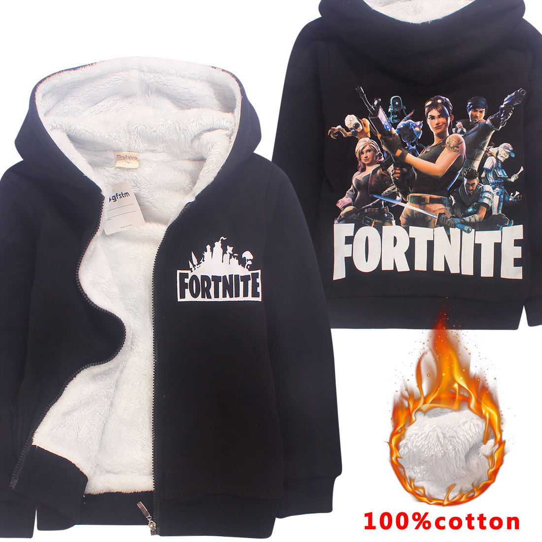 2018 Game Fortnite Winter Wool Blends Zipper Jacket Cashmere Coats Hooded Children Girls Boys Jacket Kids Clothes