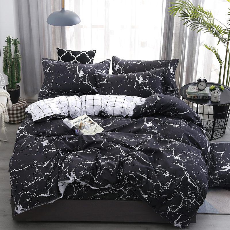 100/% Cotton Black White Bedding Set Duvet Cover Flat Sheet Twin Queen King Size