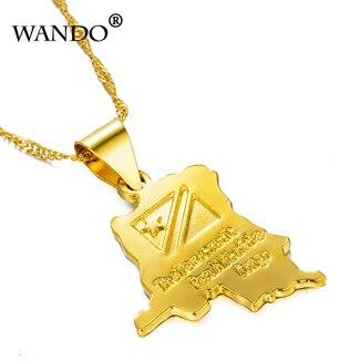 Wando Трендовое ожерелье с маленькой картой из Конго золотого