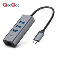 QacQoc QC GN32L Aluminum USB C Hub 3 USB 3 0 Ports 5Gbps RJ45 Ethernet Port