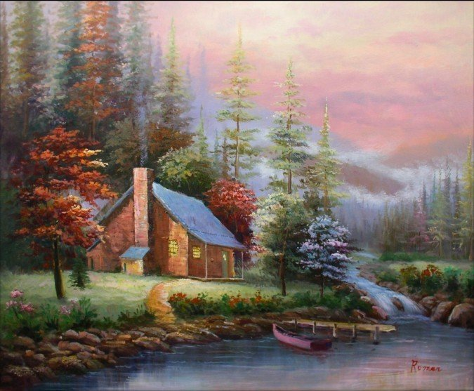 hand-painted wall art Winter forest lake house boat home decoration abstract  Landscape oil painting on canvasmixorde