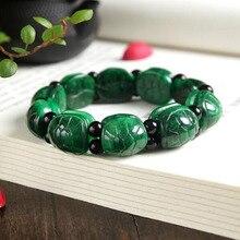Hakiki yeşim kaplumbağa kabuğu el dize kurutulmuş yeşil altın kaplumbağa moda bilezik