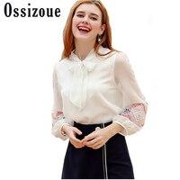 2018 ניו אביב נשים קשת קשורה שיפון רקמת שרוול מלא בסגנון מערבי לדקלם חולצות Blusas מזדמן גברת חולצה לבן