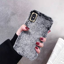 Rex Rabbit Fur For Iphone 6 6s 7 8P X Xs Xr Max Simple Mobile Phone Case