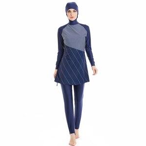 Image 2 - HAOFAN traje de baño musulmán para mujer, hiyab musulmán de talla grande, ropa de baño islámica, traje de baño de manga corta, ropa de Surf deportiva Burkinis
