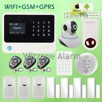 Venta caliente GS-G90B Wireless GSM WIFI GPRS Alarma Sistema de Alarma de la Casa Hogar Seguro + Sirena + sensor de Humo Inalámbrico Detector De Gas + Toma de corriente