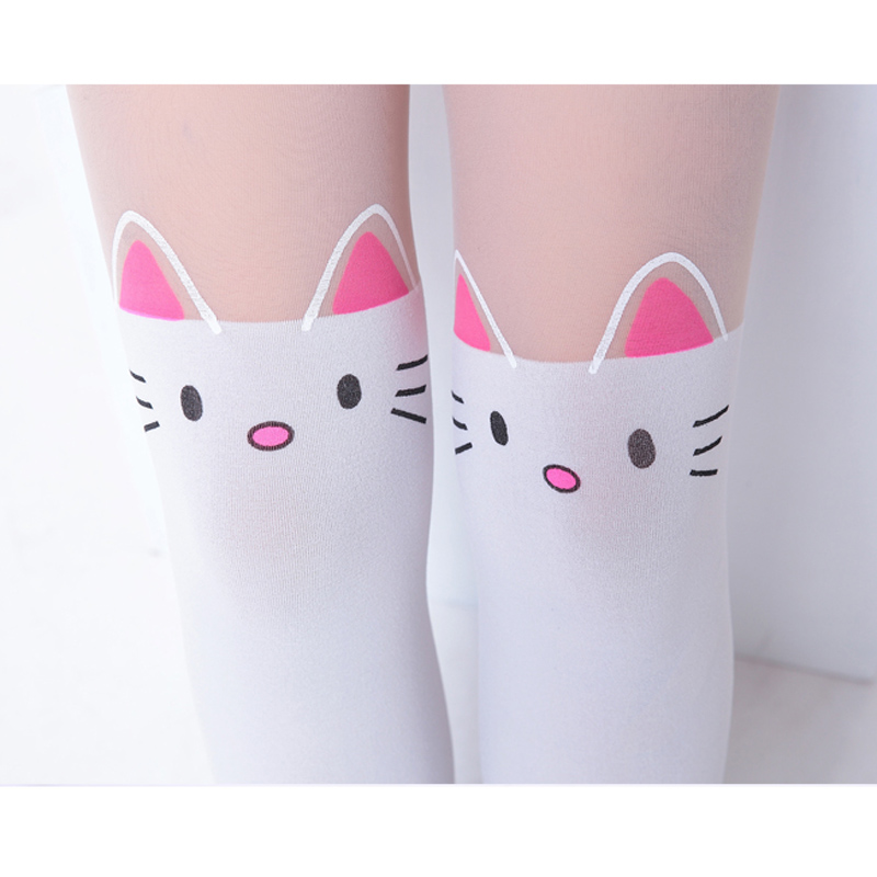 Summer-Childrens-Baby-Kids-Girls-Thin-Tights-Pantyhose-Knee-Fake-Tattoo-Velvet-Stocking-white-Cartoon-Kitty-Cat-3-8Y-new-2016-2