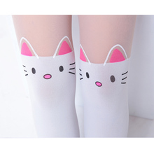 Summer Children's Baby Kids Girls Thin Tights Pantyhose Knee Fake Tattoo Velvet Stocking white Cartoon Kitty Cat 3-8Y new 2016