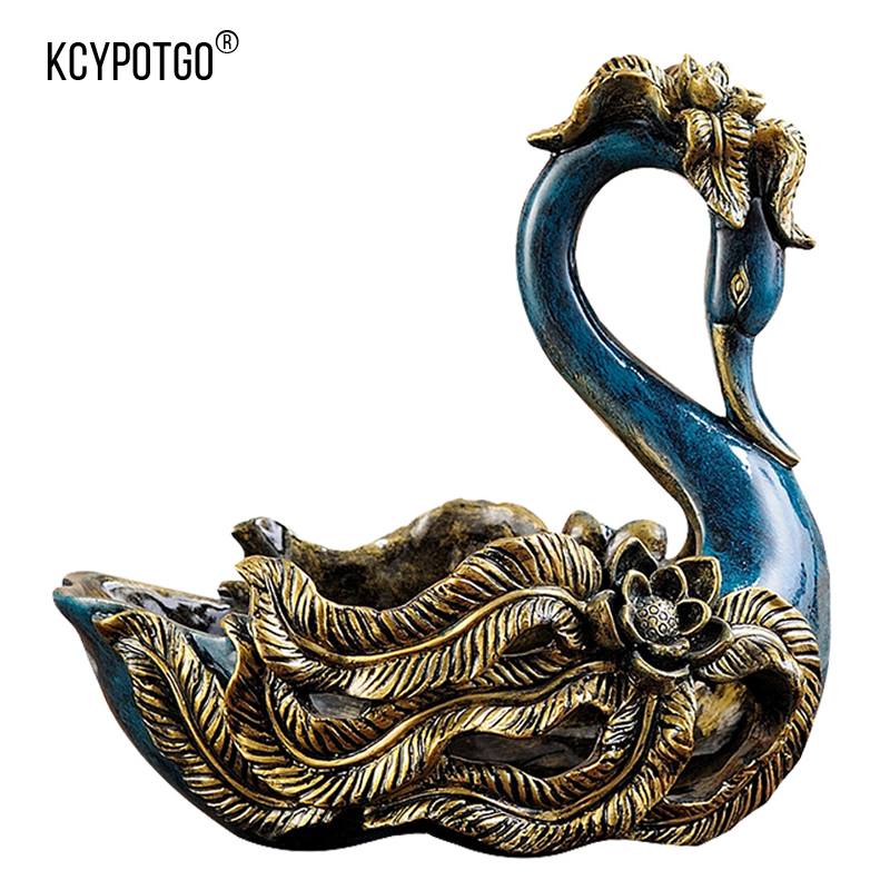 European swan shape resin fruit plate home decor Artwork living room table KTV practical coffee table decoration ornaments in Storage Trays from Home Garden