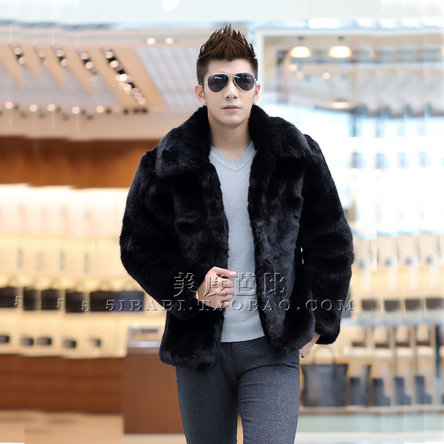 d3f9cac1881 New 2018 winter fashion men faux fur jacket Soft and comfortable warm  rabbit fur Turn-down Collar solid color fur coat