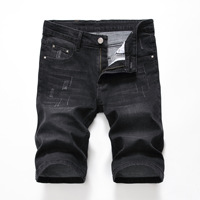 Denyblood Jeans 2019 Summer Mens Stretch Denim Shorts Jeans Black Denim Bleach Washed Distressed Ripped Jeans for Men 1006