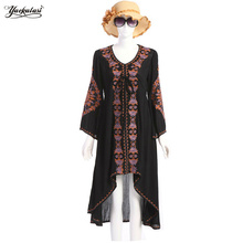 Yackalasi bohemio mujeres dress summer long negro moda vintage hippie de boho étnico flor bordada algodón ocasional personas