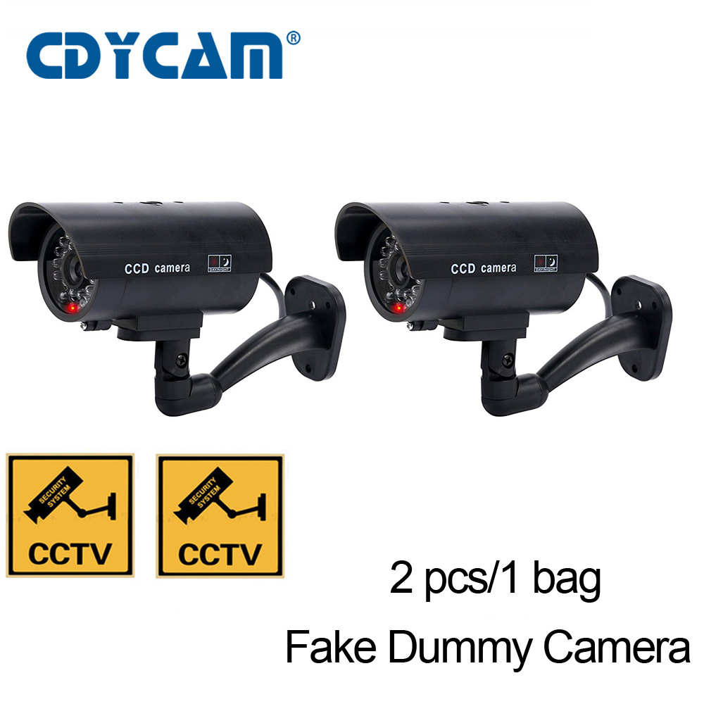 2pcs 1 bag Fake Dummy Camera CCTV Surveillance Camera Shop Home Security With LED Light Fake