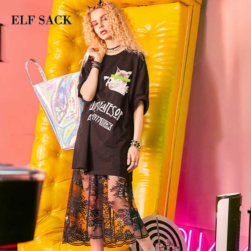 ELF SACK/летние женские кружевные длинные платья, повседневные женские черно-белые платья-рубашки с принтом кошек, два предмета кружева с талией