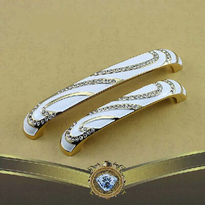 96mm gold kitchen Cabinet handle crystal cupboard pull ivory white drawer Dresser Wardrobe Furniture door handle