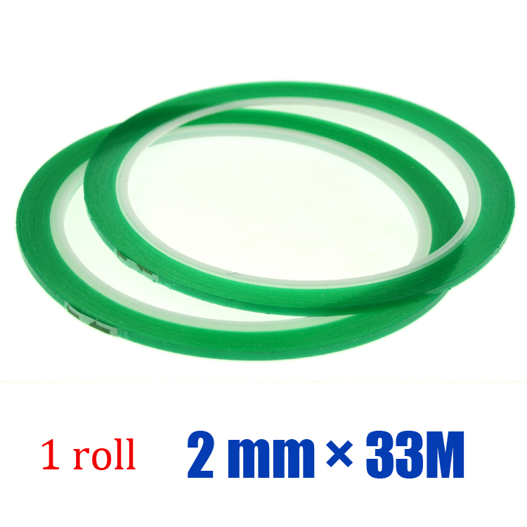 Free shipping 1roll 2mm 33M High Temperature PET Silicone Green Tape for PCB Solder Mask