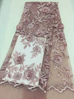 5yards Pc High Quality African Tulle Lace Fabric Dusky Pink French Lace Fabric With 3D