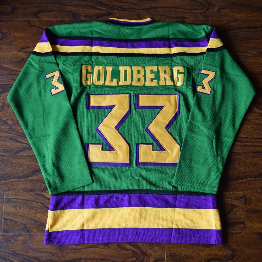 MM MASMIG Greg Goldberg #33 Mighty Ducks Ice Hockey Jersey Stitched Green