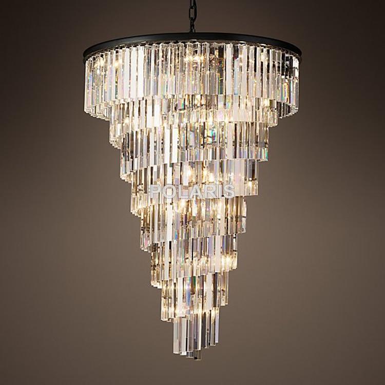 664 59 51 De Reduction Lustre En Cristal Vintage De Luxe Eclairage Pendentif Suspendu Lumiere Cage D Escalier Lustres Lampe Pour La Maison Hotel