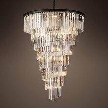 Lujo de La Vendimia Caja De La Escalera Lámparas Araña de Cristal de Iluminación Colgante Colgante Luz Lámpara para Home Hotel Restaurante de Decoración