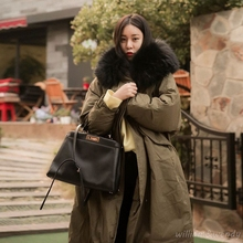 Woman Ukraine Winter Warm Windcheater Hooded Thick Long Suit Big Jacket Faux Fur Collar Coat Palto Parka Korean Large Overcoats