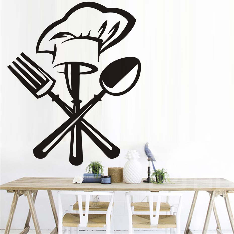 Creative Kitchen Wall Decor: Creative Chef Hat Wall Decals Vinyl Art Wall Stickers Waterproof Decal Mural Self Adhesive
