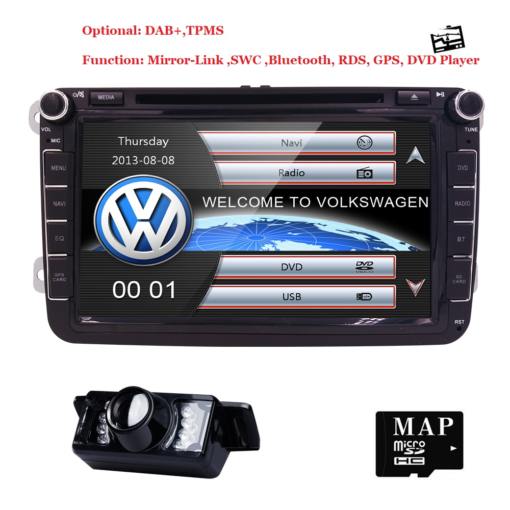 8 2din dvd de voiture pour Volkswagen Vw golf 4 golf 5 6 touran passat B6 sharan j etta caddy transporteur t5 polo tiguan MIRRORLINK DAB