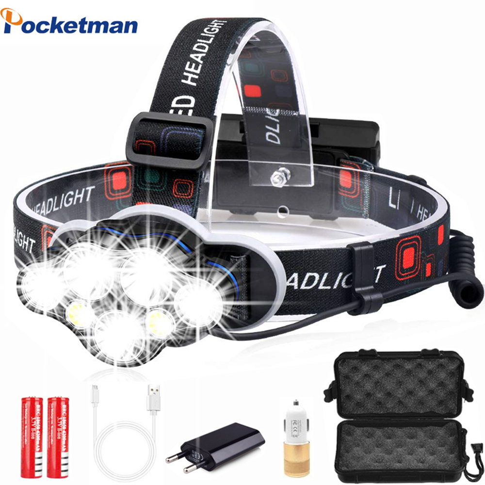 40000LM Krachtige Koplamp USB Oplaadbare Head Light 7 LED Koplamp Hoofd Lamp Waterdicht Hoofdlamp Head Zaklamp Lantaarn
