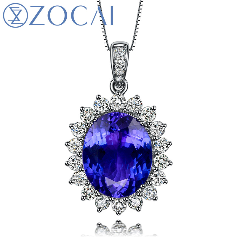 ZOCAI BRAND Blu di Fascino 3.0 CT Tanzanite 0.4 ct DIAMOND18K Solid white Gold Pendant 925 STERING ARGENTO COLLANA A CATENA D03915