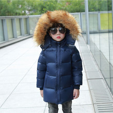 2017 Kids Winter Jackets Super Big Fur Boys Navy Down Jackets Girls Red Fur Outwear Children Thicker Clothes Warm Long Coats