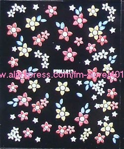 Wholesales 30 Sheets Flower Colorful Designs Decals Stickers Assorted for Nail Art Decoration,FSMJ series SKU:B0065